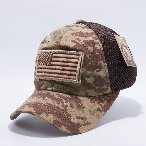 BULL DV557 US FLAG VELCRO PATCH MICRO MESH HATS [DESERT D.CAMO]