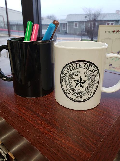 STATE OF TEXAS SEAL COFFEE MUG POLY (black & white)