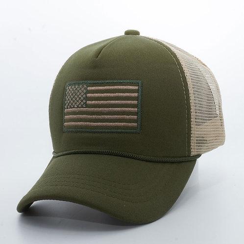 Big Bear USA Flag Foam Trucker Hat [Olive/Khaki]