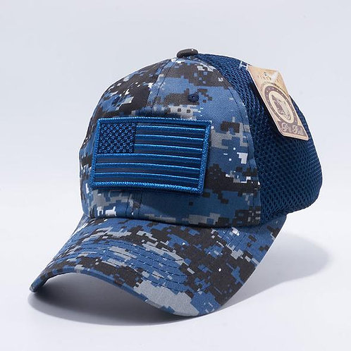 US Flag Velcro Patch Micro Mesh Hats [Navy D.Camo]