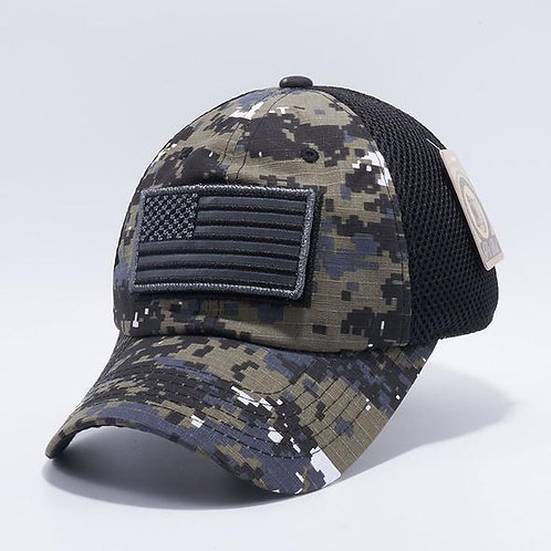 US Flag Velcro Patch Micro Mesh Hats [Black D.Camo]