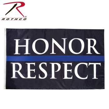 Rothco Honor & Respect Thin Blue Line Flag - 3' X 5'