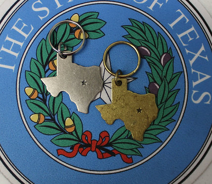 Texas Shaped Metal Keychain