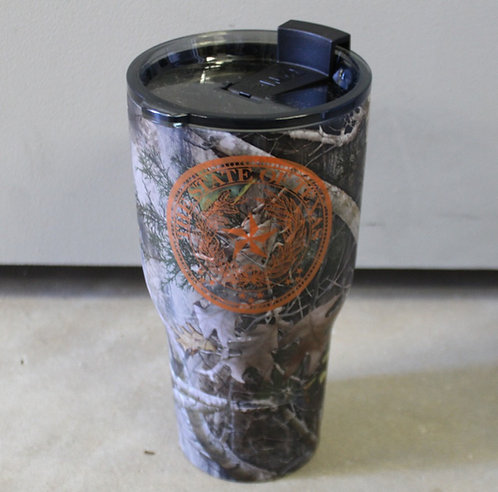 Camouflaged 30oz RTIC Stainless Steel Cup with Texas Seal