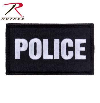 Rothco Police Patch with Hook Back - Black/Silver