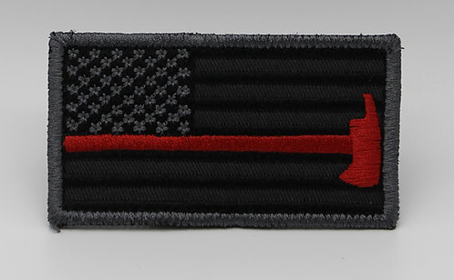 """FIREFIGHTER FLAG Patch With Hook Back 3 1/2"""" X 2"""""""