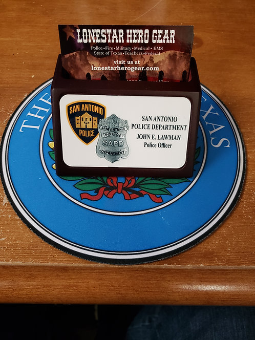 Custom Mahogany Wood Card holder (any logo any name)
