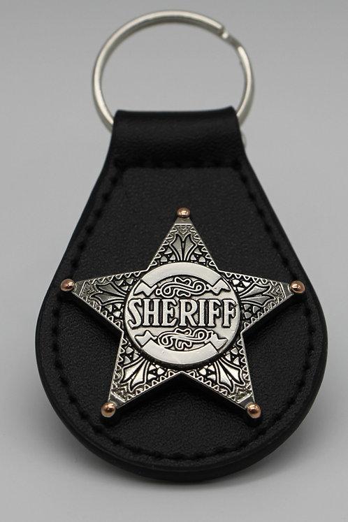 BRASS AND SILVER SHERIFF STAR  KEYCHAIN