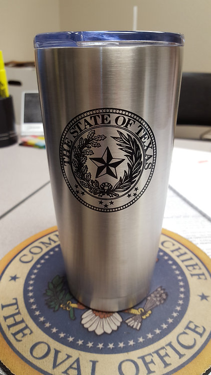 20 oz Stainless Steel Cup With Texas Seal