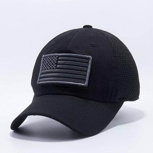 US Flag Velcro Patch Micro Mesh Hats [Black]