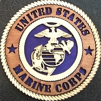 "United States Marine Corps Wood Magnet 3"""