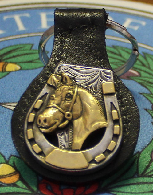 HORSESHOE KEYCHAIN WITH HORSE (LEATHER) C51