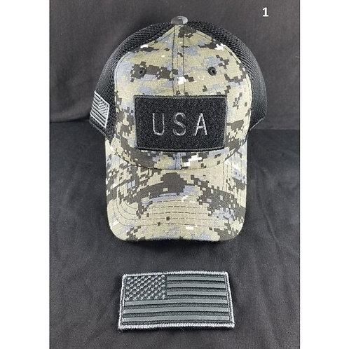 USA CAP W/Patch - Removable USA Flag Velcro Patch