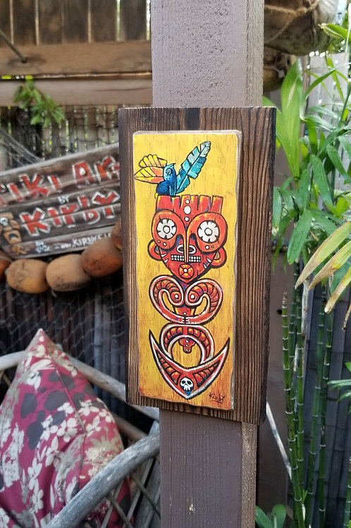 Small Png Hook Tiki Wood Print with Redwood Frame