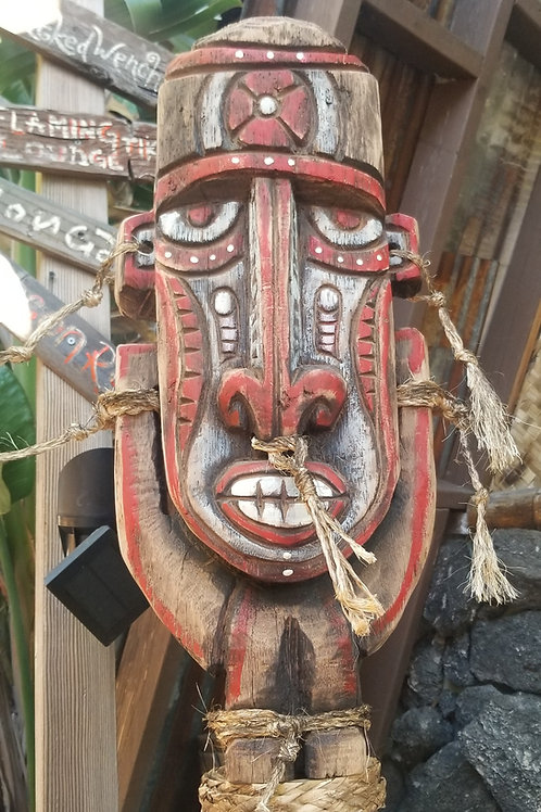 Stylized PNG Tiki Carving on Bamboo Post with Base by Kirby