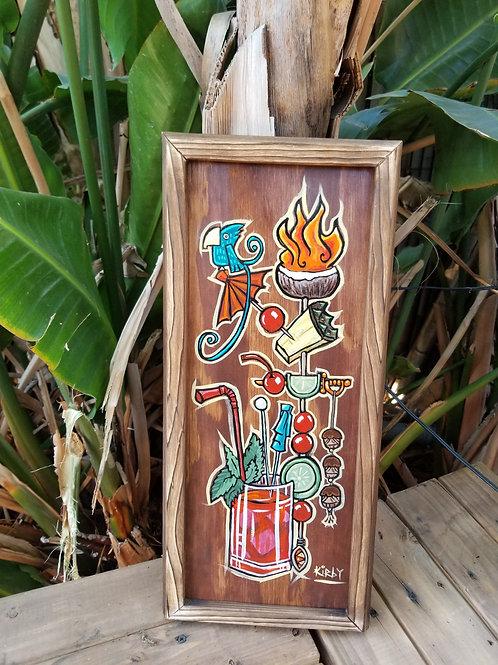 Cocktail Tiki Mug with Garnish Framed Acrylic on Wood by Kirby