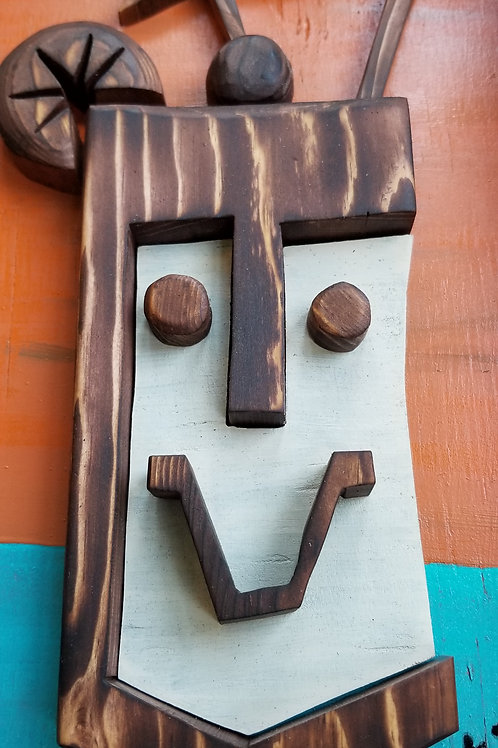 "Commission ""Tiki Bob"" Mug Framed Wood Carving/cutout Acrylic on Wood by Kirby"