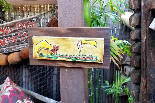 2 Birds 1 Croc Print on Driftwood Plaque Frame Handmade by Kirby!