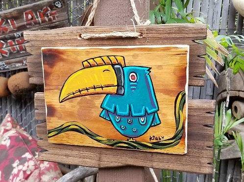 Blue Bird on Vine by Kirby! Acrylic on Wood with Custom Frame