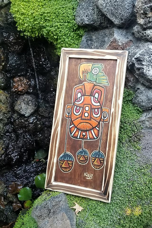 3 Shrunken Heads Framed Tiki Painting Acrylic on Wood by Kirby