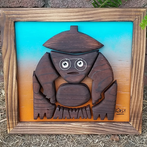Coconut Monkey Wood Carving Wall Art by Kirby