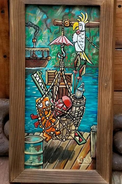 """Rosita's Dock"" Acrylic on Wood with Custom Frame by Kirby"