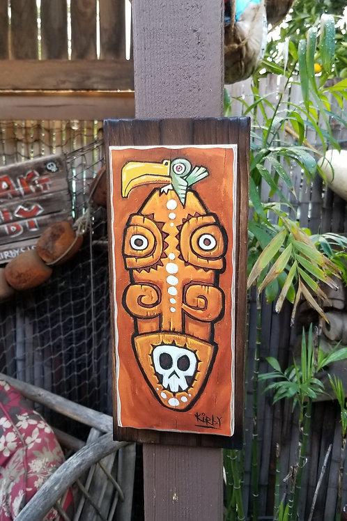 Small Wood Print Orange Tiki w Green Bird By Kirby