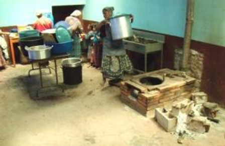 A small classroom is now used as a makeshift kitchen.