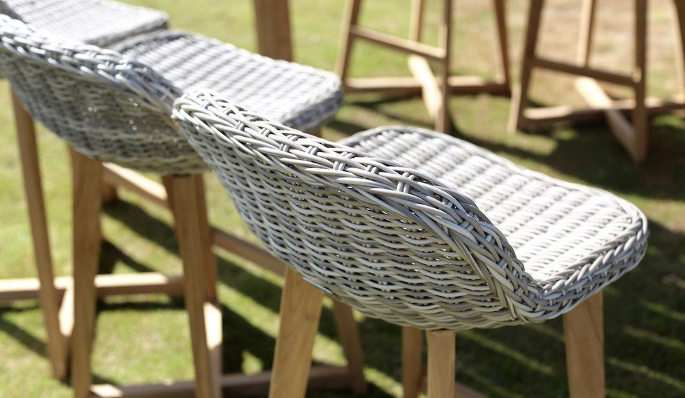 Handwoven wicker & teak wood