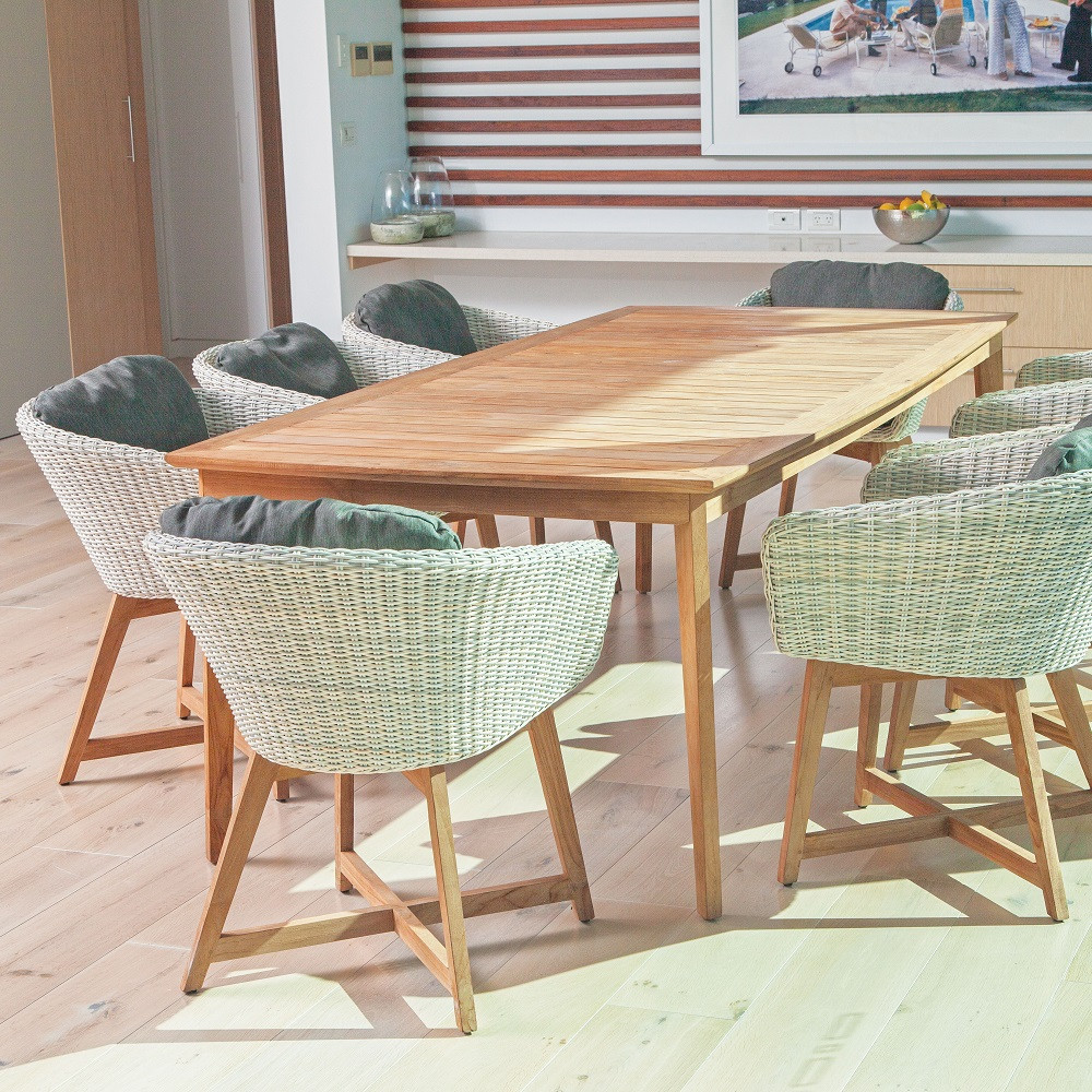 Teak wicker dining