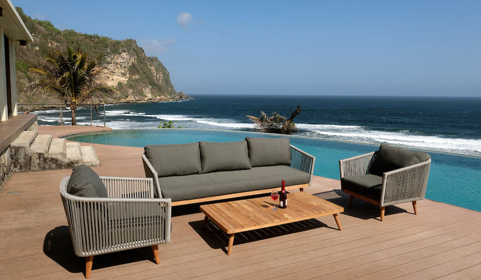 Premium outdoor rope & teak with outdoor cushions