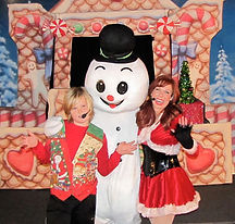 Holiday /Christmas musical puppet show with dancing mascot snowman.