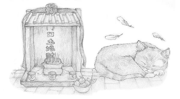 Cat shrine in Hong Kong 土地公