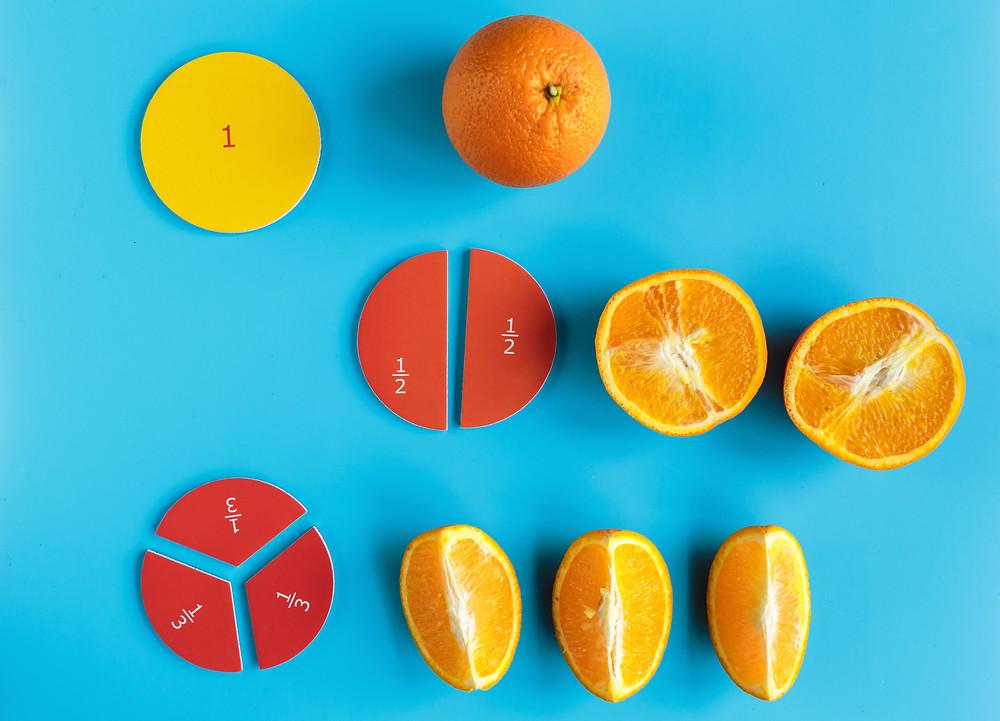 Fractions using orange slices