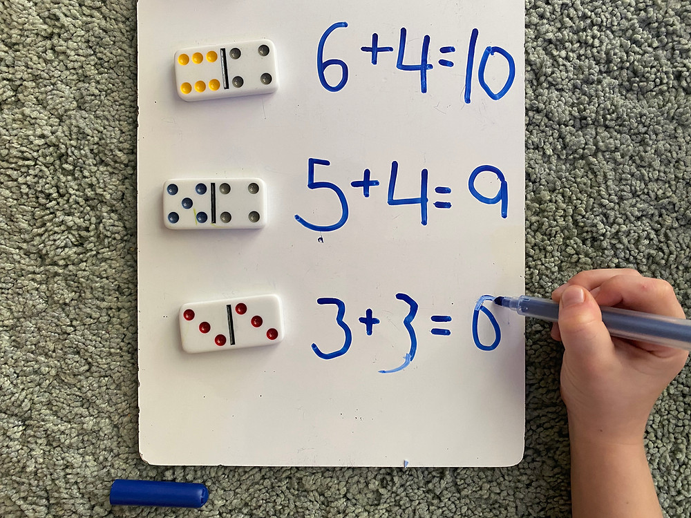 Student using concrete resources in Maths lesson