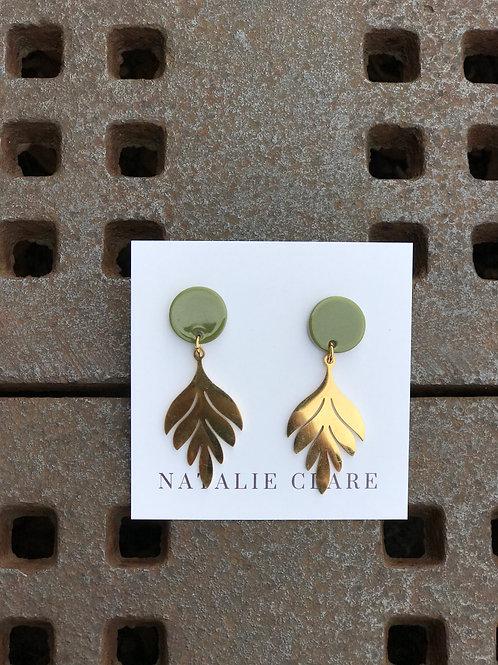 Botanical Earrings -Olive