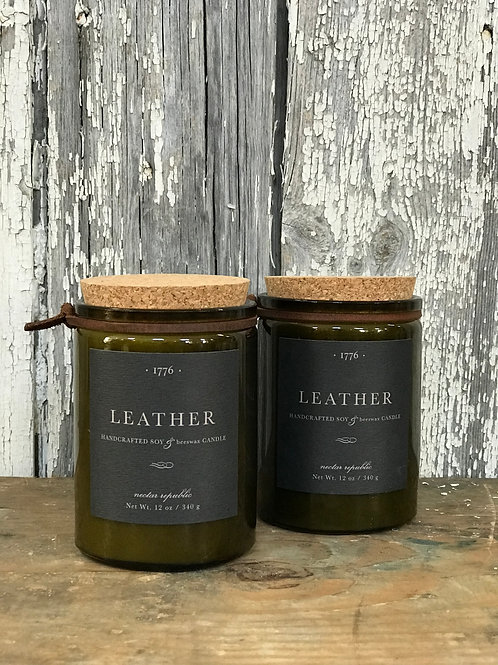 Leather 12oz Candle - Laura's Favorite