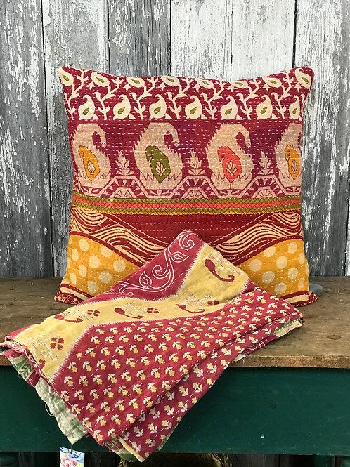 Vintage Kantha Pillow and Throw