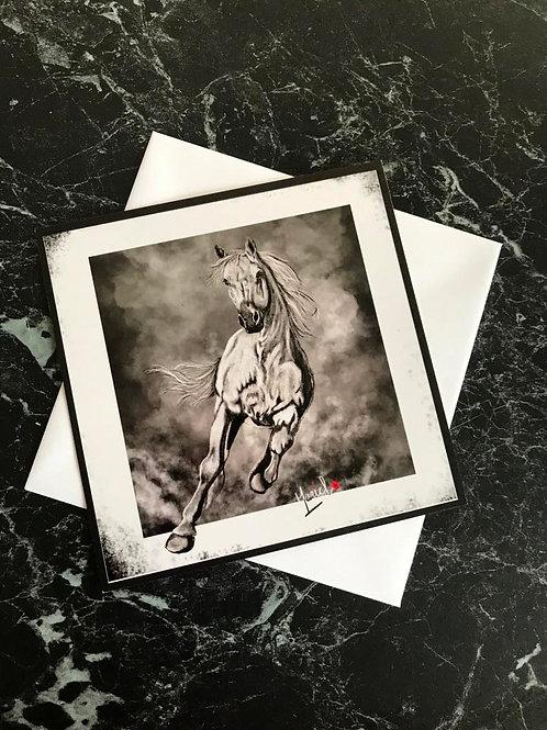 """Carte Carrée Cheval sauvage """"tempête"""""""