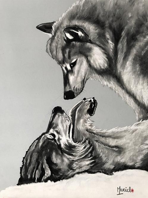 """""""Soumission"""" Pastel sur Pastel Mat, loup, wolf"""