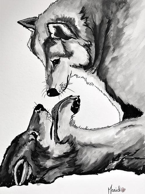 """""""Soumission"""" Aquarelle, loup, wolf"""