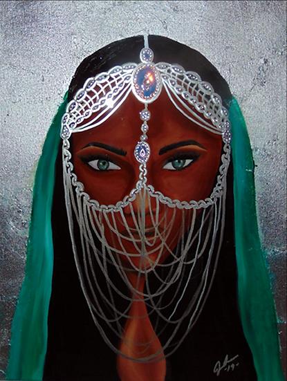 Silver Siren Original Painting in private collection Miami, Fl