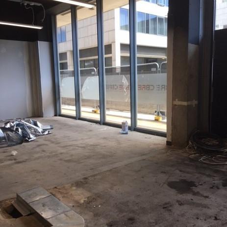 Bare concrete flooring