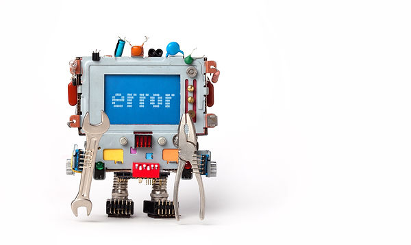 Error concept poster. Handyman robotic c