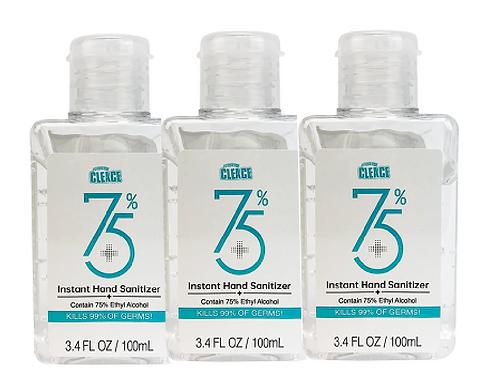 Cleace Instant Hand Sanitizer 75% 100ml - 3 STUKS