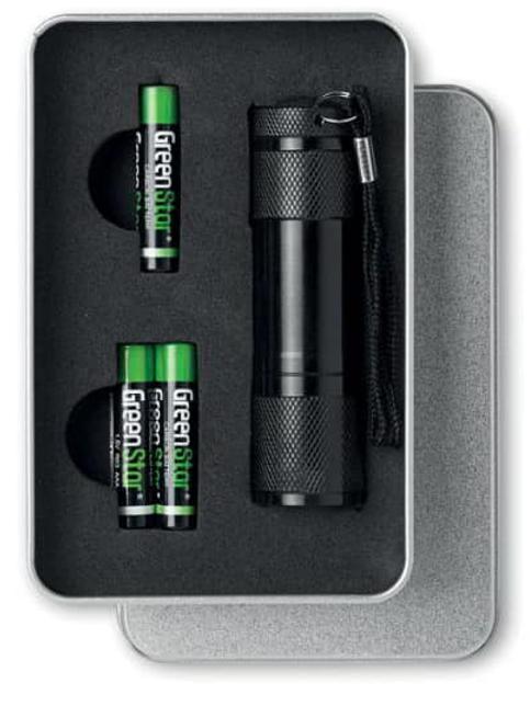 Aluminium zaklamp incl. batterijen