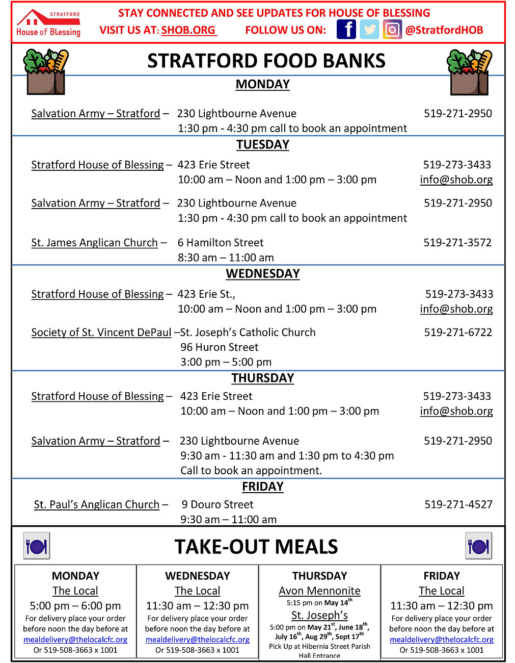picture showing food bank locations and hours