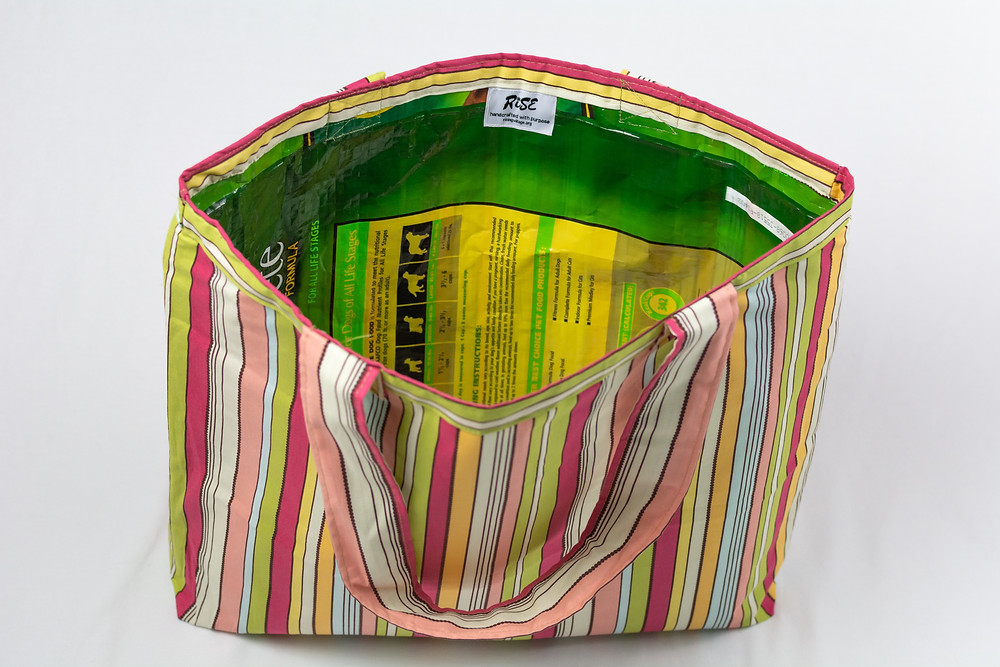 grocery bag with pet food back interior