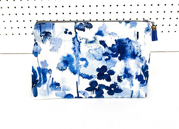 Large Upcycled Zipper Bag (watercolor)
