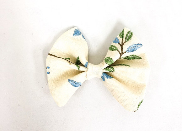 Hair Bow (Blue and Green Embroidery)